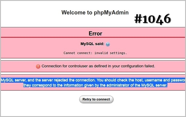 Error #1046- No Database Selected Hatası